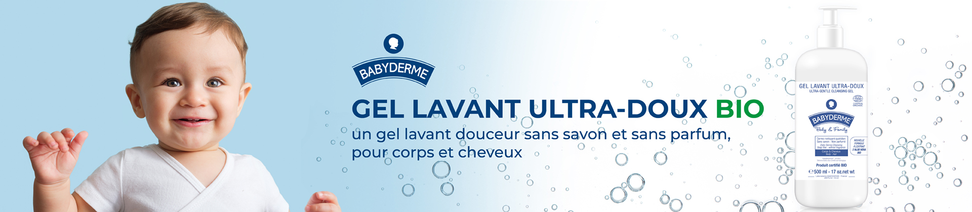 header gel lavant ultra doux bio babyderme